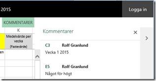 Excel kommentar login