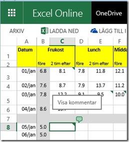 Excel kommentarsbubbla